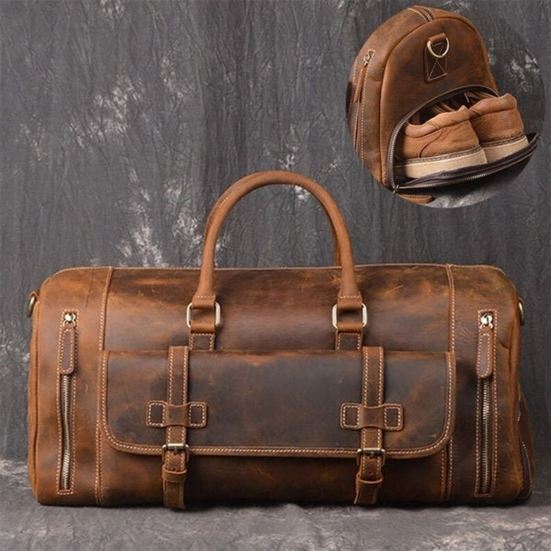Leather Duffel bag  inches  travel bag Overnight Bag weekender image 0