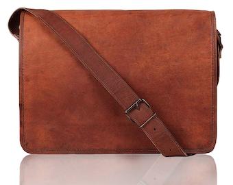 Classic leather messenger bag for men and women can be used as a breifcase bag laptop bag shoulder bag crossbody bag satchel gift for him
