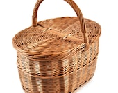 MyBer Rattan basket willow basket picnic orb Stable carrying basket with 2 lids made of rattan brown K1-027