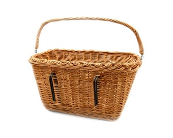 MyBer® Bicycle basket willow basket transport basket bicycle shopping basket with handle from pasture with bike holder braided K1-622