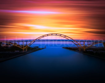 Drone Photo of the Hoan Bridge in Milwaukee, Wisconsin - Unique Aerial Timelapse Photograph - Colorful - Lake Michigan - Summerfest
