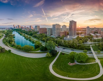 Drone Photo of Milwaukee Skyline - Stunning view from Veteran's Park at the lakefront in Milwaukee Wisconsin - Milwaukee Aerial Photograph