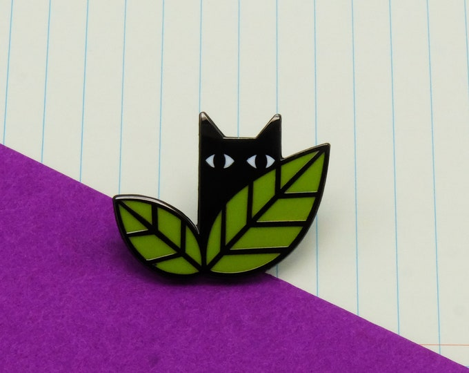 Cat in Leaves Pin