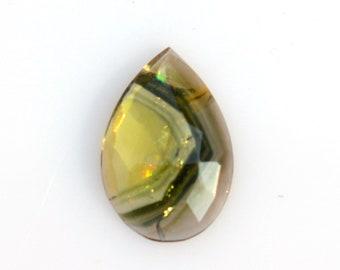 Natural Tourmaline making designer Jewelry 9620 3.50 cts White Green Tourmaline Slice Gemstone Brazilian Mines L-13mm W- 11.5mm H-2.5mm
