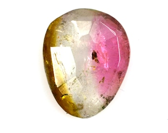 3.70 cts Pink Green Tourmaline Faceted Cut Polki Gemstone 15x12x3 mm Loose Stone P-1727