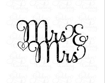 Mrs. & Mrs. wedding cake topper/ same sex marriage, cake topper, cake decorations, lesbian wedding, marriage equality, svg dfx png pdf jpeg