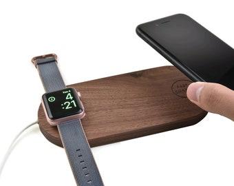 Walnut Wood Wireless Charging Pad 2 in 1 32df8ad672