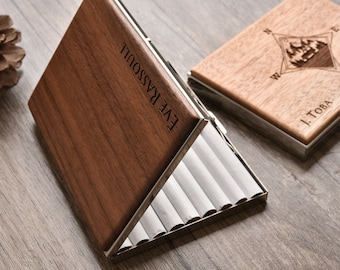 Personalized Cigarette Case, Wood Cigarette Box, Metal Cigarette Holder, Custom Gift, Christmas Gifts, Father Gift, Unique Gift for him/her