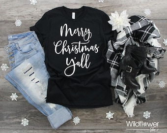 27561dc2 Women's Merry Christmas Y'all Limited Time Cute Funny Winter Holiday  Christmas Tee T-Shirt Graphic Tee Plus Size Avail in 3X 3XL 4X 4XL