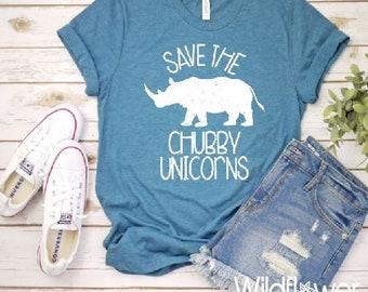 df42cc04 Women's SAVE The CHUBBY UNICORNS Rhino Tee T-Shirt Funny Humor Graphic Tee  Plus Size Tee t-shirts avail S-4XL 3X 3XL 4X 4XL