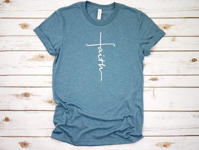 973cb4bea Women's FAITH Inspirational Faith Religious Christian Tee | Etsy