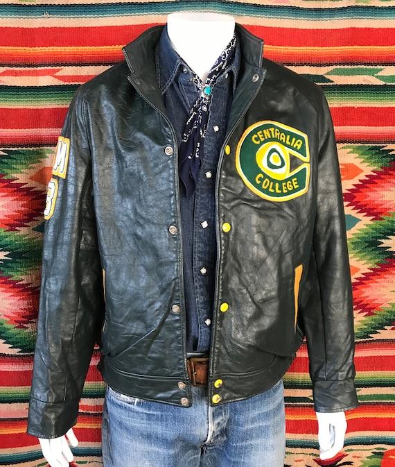 Vintage 93 Canadian leather college jacket. Dark g