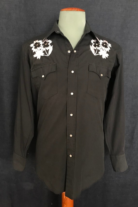 Vintage 70's floral embroidered western shirt by c