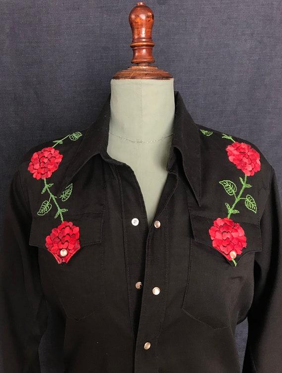 Vintage 70's roses floral embroidered western shir