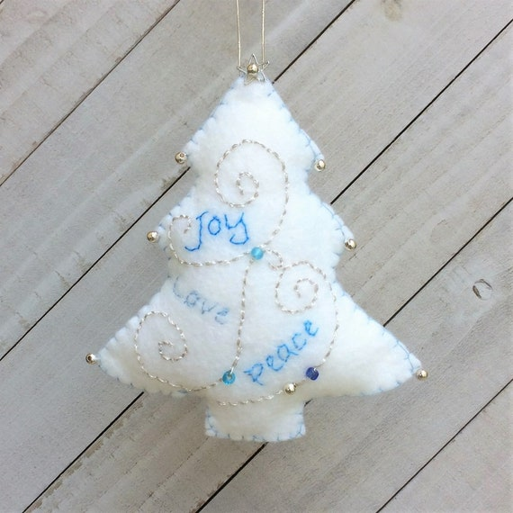 Christmas Sleigh Ornament  Holiday Felt Embroidery Kit in Silver and Blues