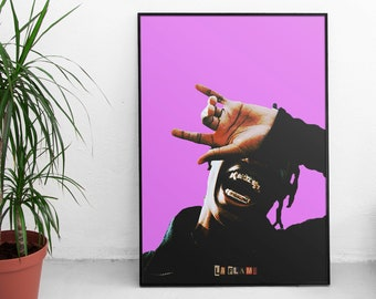 d8d9d90ec0e5 Travis Scott Poster - Large Poster - Enhanced Matte Paper Poster - La Flame  Print - Astroworld Poster - Rodeo Print
