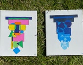 Topsy Turvy Shape Paintings, Minimalist, Shapes, Shades of Blue, Primary Colors