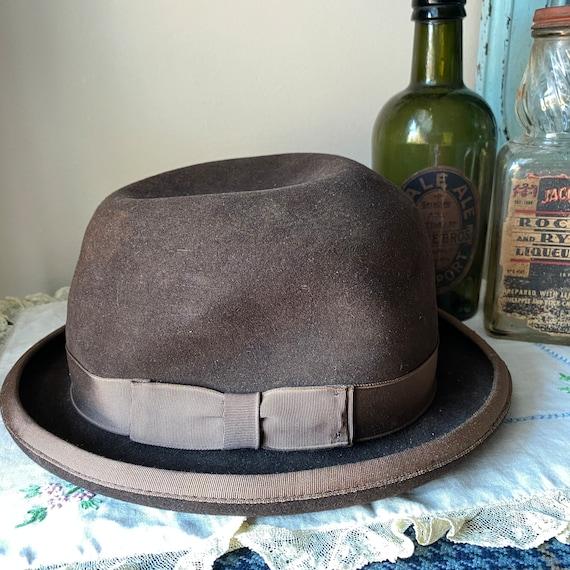 Vintage Brown Fur Felt Fedora