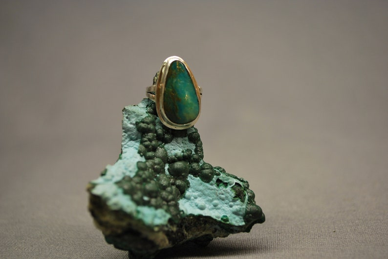 Genuine Purivian Opal in .925 Recycled Sterling Silver Ring Size 4.25 US