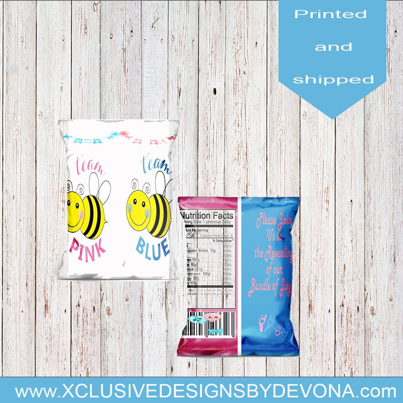 Bee Gender Reveal Chip Cags-Bee Gender Reveal Favor Bag-Gender Reveal Custom Chip Bag-Custom Baby Shower Bags-Baby shower party bags-printed