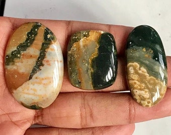 37X23X4 mm J-3205 Stunning Quality 100/% Natural Ocean Jasper Oval Shape Cabochon Loose Gemstone For Making Jewelry 30 Ct