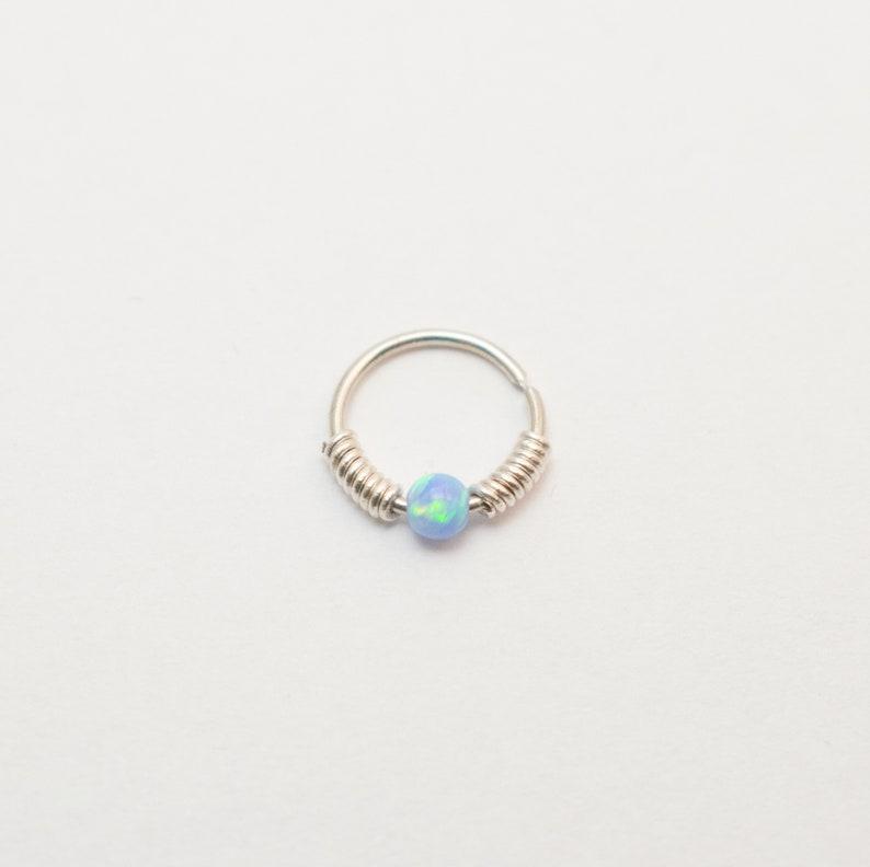Septum Jewelry Septum ring wrapped beaded Septum piercing opal CHRISTMAS SALE Septum opal hoop Opal Septum Ring Piercing