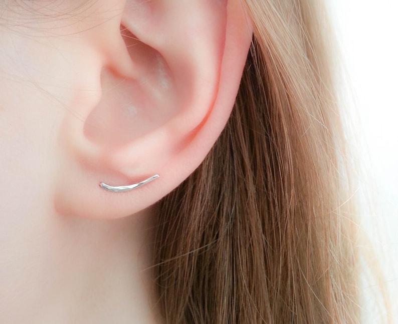 5cbfbdb2f1000 SALE Silver Ear Climber earrings Tiny bar earrings ear | Etsy