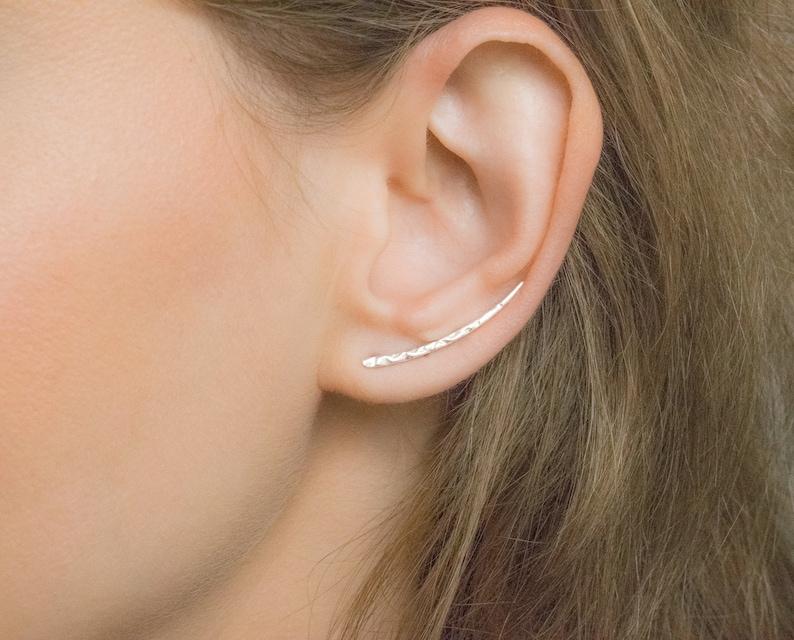 84d69e7d3eb3a SALE Long Silver Ear Climber Ear Crawler Bar Earrings | Etsy