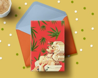 Happy Holidaze Holiday Card - Pot Plant, Weed, Cannabis Leaves, Adult Cards