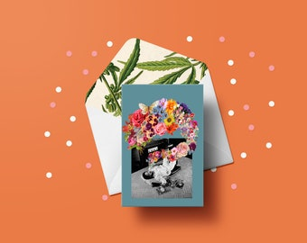 Plume of Bloom Greeting Card - Valentine's Day, Pot Plant, Weed, Cannabis Leaves, Adult Cards