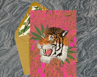 Tiger Style Greeting Card - Party Invitation, Pot Plant, Weed, Cannabis Leaves, Adult Cards