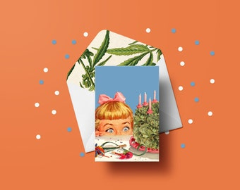 Surprise Cake Birthday Greeting Card - Birthday Day, Pot Plant, Weed, Cannabis Leaves, Adult Cards