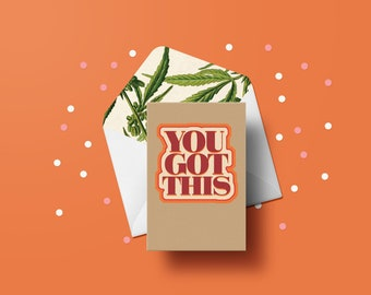 You Got This Greeting Card - Inspirational Card, 70s, Vintage Typography