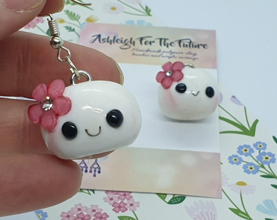 Miss Marshmallow/Pork bun Polymer clay Earrings