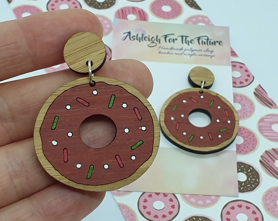 DISCOUNTED - Christmas Chocolate Doughnut earrings, laser cut earrings, ladies jewellery, statement earrings