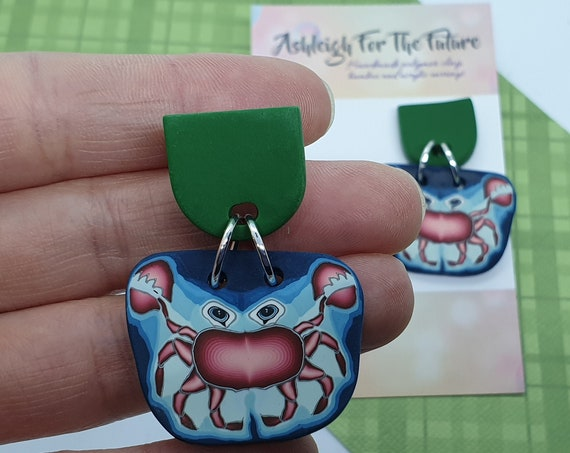 Crab Polymer Clay Dangles