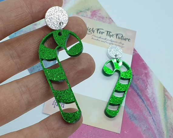 DISCOUNTED - Christmas Green Glitter Candy Cane Earrings, Acrylic Earrings, Gift Ideas, Ladies Jewellery, Statement Earrings, Womens Jewelry