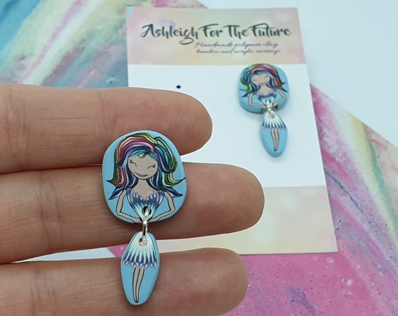 Mermaid Lady Polymer Clay Dangles