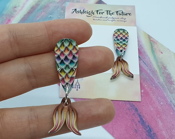 Mermaid Tail Polymer Clay Dangles