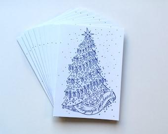 10 flat German Christmas folding cards