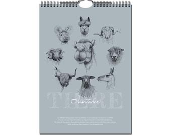 Animal Portrait Calendar A4