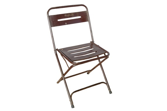 Groovy Vintage Folding Chair Metal Brown Gmtry Best Dining Table And Chair Ideas Images Gmtryco