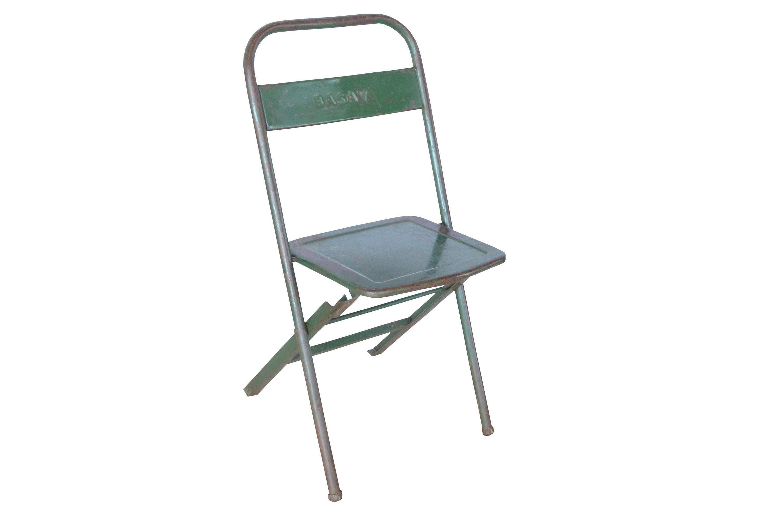 Vintage Folding Chair Metal Green