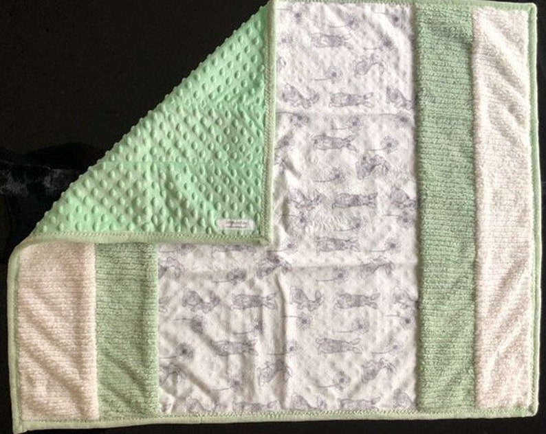 Handmade Modern Baby Minky Baby Blanket Gray Bunny Print with Green and White Stripes Baby Blanket