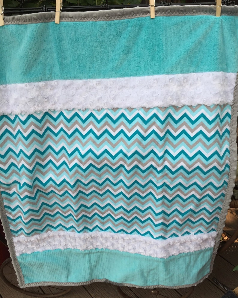 Handmade Modern Baby Minky Baby Blanket Turquoise Minky Baby Blanket