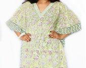 Indian Hand Block Printed Kaftan Plus Size Kaftan Dress For Women Beach Wear Party Dressing Clothing Night Tunic Vintage Kimono Robe
