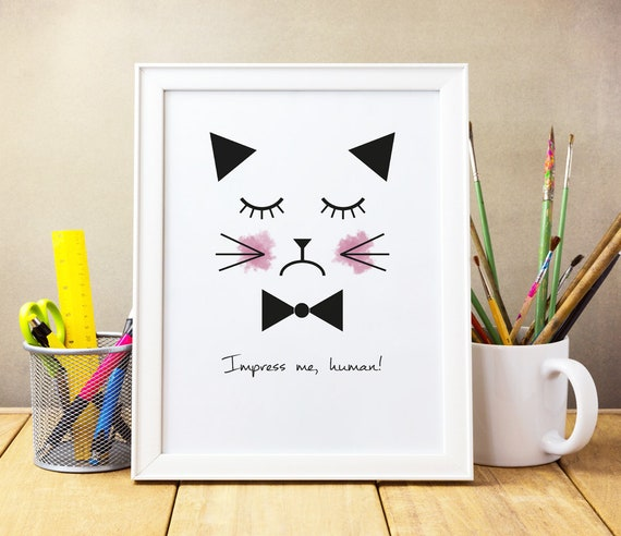 Druck Spruch Katze Kunstdruck Lustig Druck Auf Leinwand Minimalistisch Wand Dekoration Minimalistisch Sprüche Und Zitate Druck Katze