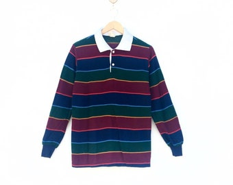 6ab01a0b 1970s Vintage Polo Shirt Multicolour Stripe Rainbow Colour Block Long  Sleeve Shirt 70s Vintage Clothing Made In usa / Medium Size