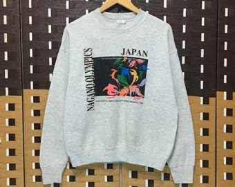 44e12e6d4 Vintage 90s MIZUNO X The Olympic Winter Games 1998 Japan Sweatshirt  CrewNeck Jumper Vintage Olympic Made in usa / small Size