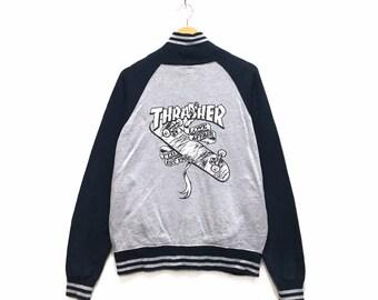 cb5d859c4252 Rare! Vintage THRASHER Skate Big Logo Varsity Button Jacket Jumper Men  Clothing / StreetWear Fashion / Skateboard Fashion / Medium Size